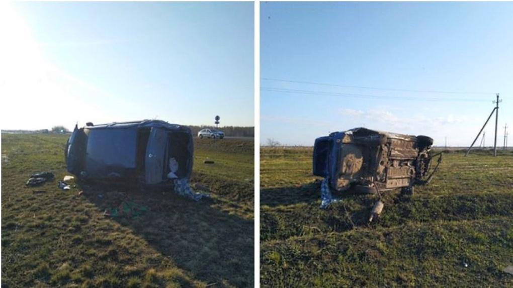 Под Омском после опрокидывания в кювет погиб водитель иномарки